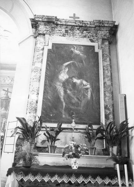 retable, tableau : saint Sébastien soigné par sainte Irène, vue générale