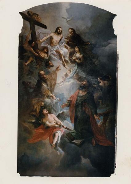 tableau, cadre : Trinité, la Vierge, saint Pierre et saint Paul, vue générale