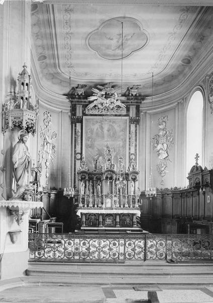 Autel, retable, tableau, lambris de revêtement (maître-autel) : apothéose de saint Nicolas, vue générale