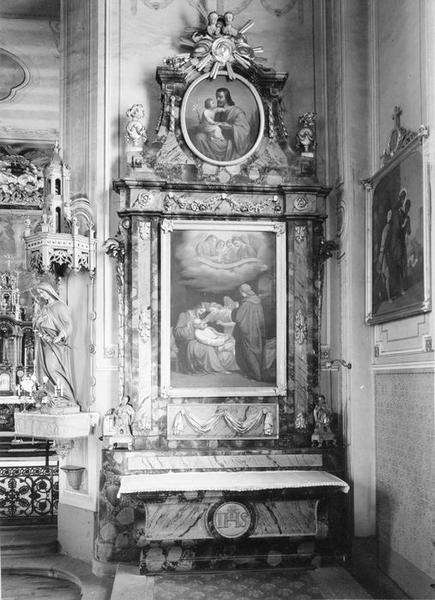 autel, retable, tableau : mort de saint Joseph, vue générale