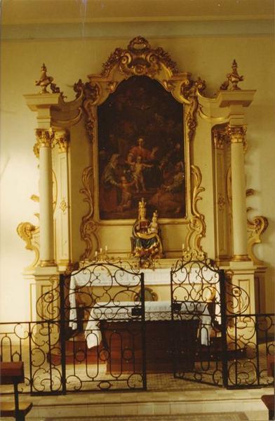 autel, retable, statue, tableau (maître-autel) : Vierge à l' Enfant, Sainte Famille, vue générale