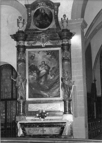 autel, retable, statues (2), tableaux (2) : Immaculée Conception, saint Nicolas, sainte Barbe, sainte Marguerite, de l' Assomption, vue générale