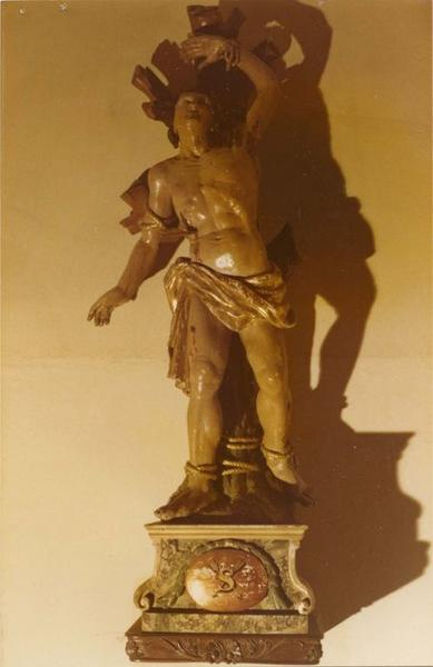 statue, socle : saint Sébastien, vue générale