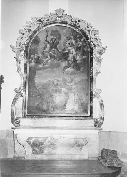 autel, retable, tableau : saint François d' Assise et saint Dominique protégeant le monde contre la colère du Christ, vue générale