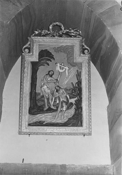 bas-relief, cadre : le Baptême du Christ, vue générale