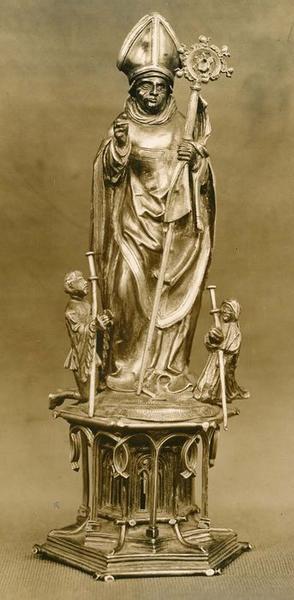 statue-reliquaire : saint Thiebaut de Thann et deux pèlerins, vue générale