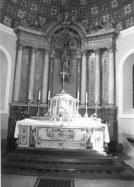 autel, tabernacle, baldaquin, statue, bas-relief (maître-autel) : saint Jacques le Majeur, sainte Cène, dit de saint Jacques le Majeur, vue générale