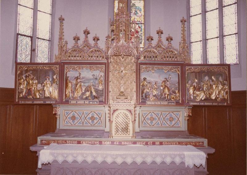 retable, 2 tableaux, 4 bas-reliefs : sainte Cène, la Manne, Décollation de saint Jean-Baptiste