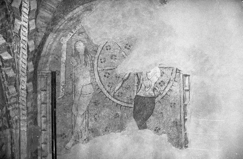 Peinture monumentale, première chapelle sud de la nef, mur ouest : supplice de la roue de sainte Catherine
