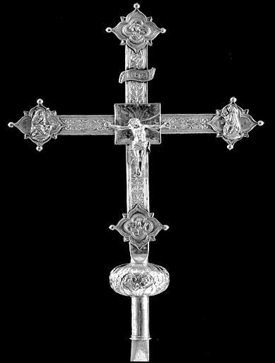 Croix processionnelle en argent et argent doré, avers