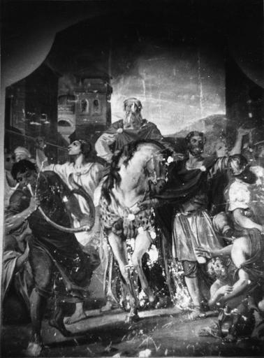 Peinture monumentale : Triomphe de Mardochée (Histoire d'Esther et Assuérus), huile sur toile ; avant restauration