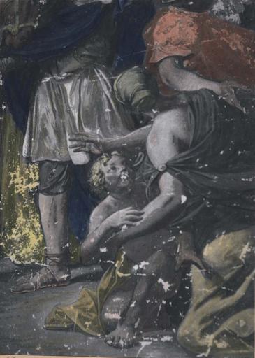 Peinture monumentale : Triomphe de Mardochée (Histoire d'Esther et Assuérus), huile sur toile ; avant restauration (détail)