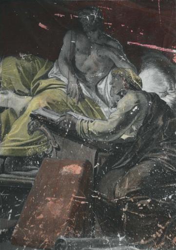 Peinture monumentale : Découverte d'Aman (Histoire d'Esther et Assuérus), huile sur toile ; avant restauration (détail)