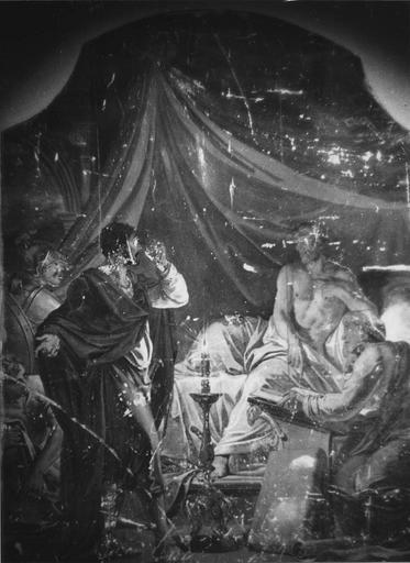 Peinture monumentale : Découverte d'Aman (Histoire d'Esther et Assuérus), huile sur toile ; avant restauration