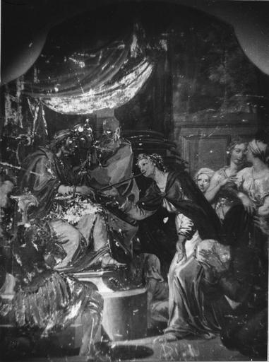 Peinture monumentale : Assuérus cherche une femme (Histoire d'Esther et Assuérus), huile sur toile ; avant restauration