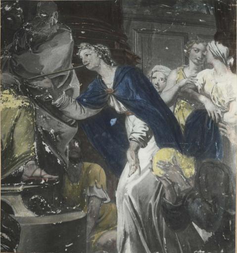 Peinture monumentale : Assuérus cherche une femme (Histoire d'Esther et Assuérus), huile sur toile ; avant restauration (détail)