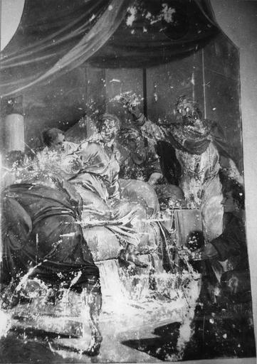 Peinture monumentale : Le banquet d'Esther (Histoire d'Esther et Assuérus), huile sur toile ; avant restauration