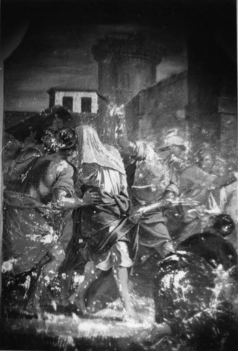 Peinture monumentale : Aman conduit au supplice (Histoire d'Esther et Assuérus), huile sur toile ; avant restauration