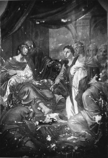 Peinture monumentale : Esther chez Assuérus (Histoire d'Esther et Assuérus), huile sur toile ; avant restauration