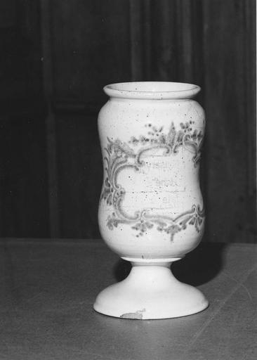 Pot à pharmacie (pilulier) en faïence à décor de cartouche végétal bleu sur fond blanc