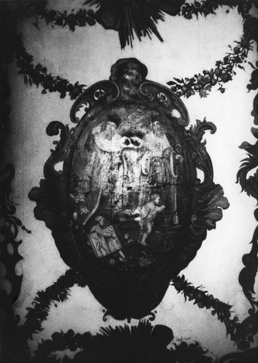 Plafond : Médaillon avec saint Côme et saint Damien, huile sur toile marouflée sur bois