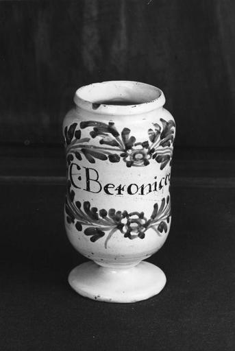 Pot à pharmacie (pot-canon) en faïence, à décor de branchages noués et fleurettes