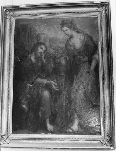 Tableau, cadre : Jésus et la Samaritaine, huile sur toile