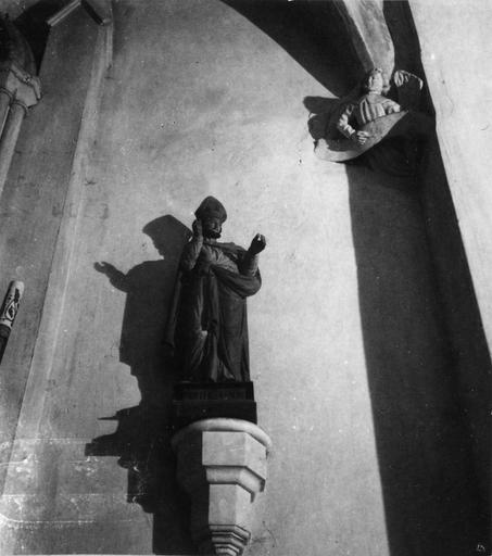 Statue : Saint Blaise, bois sculpté, peint