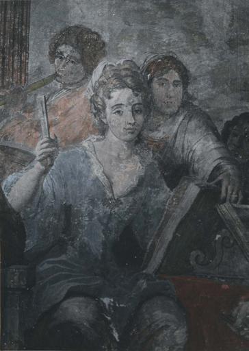 Peinture monumentale : Le concert champêtre, détail d'une jeune femme battant la mesure avec un éventail fermé, derrière elle un joueur de flûte et un personnage qui tourne les pages de la partition, fresque (détail)