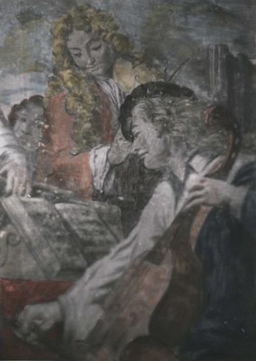 Peinture monumentale : Le concert champêtre, détail d'un joueur de viole et d'un violoniste, fresque (détail)