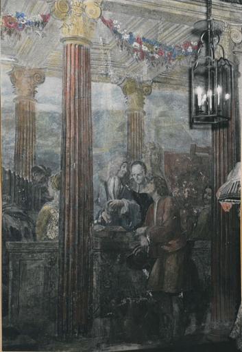 Peinture monumentale : Le concert champêtre, détail de la partie droite de la composition représentant une allégorie des Lettres, de la Peinture et de la sculpture, fresque (détail)