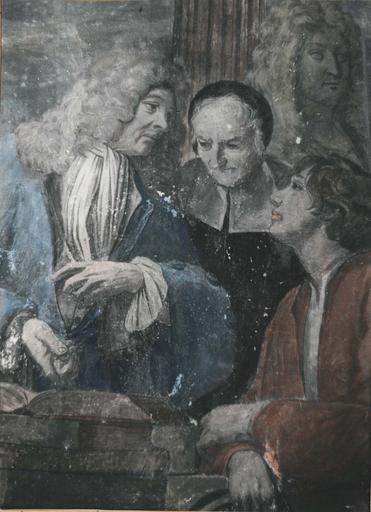 Peinture monumentale : Le concert champêtre, détail des trois personnages représentant les Lettres, fresque (détail)