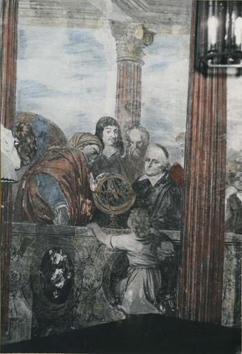 Peinture monumentale : Le concert champêtre, détail des quatre personnages, dont René Descartes, représentant les Sciences, fresque (détail)