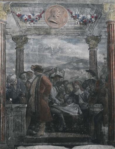 Peinture monumentale : L'assemblée des marchands, détail de la partie centrale de la composition, fresque (détail)