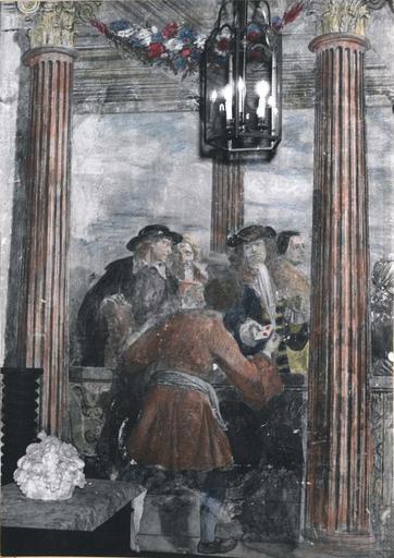 Peinture monumentale : L'assemblée des marchands, détail de la partie gauche de la composition, fresque (détail)