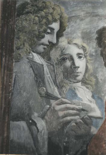 Peinture monumentale : L'assemblée des marchands, détail de deux personnages masculins, l'un des deux prend des notes sur un morceau de papier, fresque (détail)