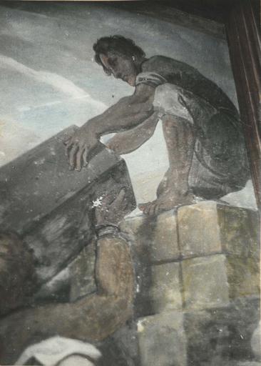 Peinture monumentale : L'assemblée des marchands, détail d'un ouvrier empilant des paquets, fresque (détail)