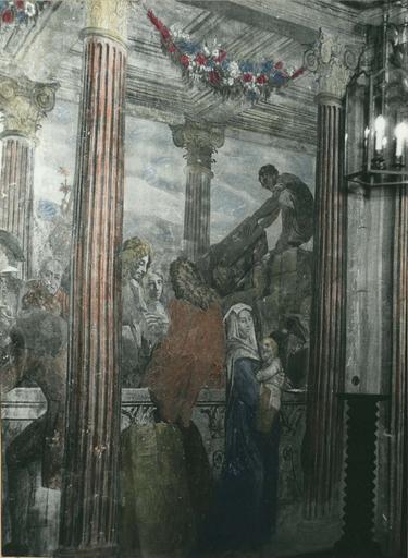 Peinture monumentale : L'assemblée des marchands, détail de la partie droite de la composition, fresque (détail)