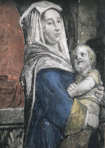 Peinture monumentale : L'assemblée des marchands, détail d'une jeune femme tenant dans ses bras un enfant, fresque (détail)