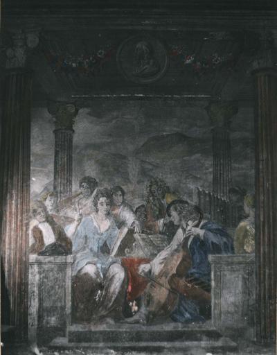 Peinture monumentale : Le concert champêtre, détail de la partie centrale de la composition représentant la Musique, fresque (détail)