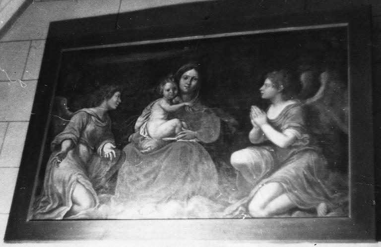Tableau : Vierge à l'Enfant encadrée par deux anges, huile sur toile