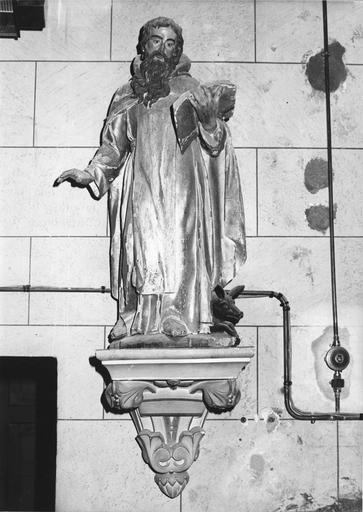 Groupe sculpté : Saint Antoine ermite, bois sculpté, peint, doré