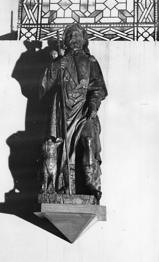 Groupe sculpté : Saint Roch, bois sculpté