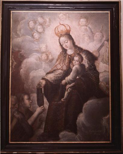 Tableau : La Vierge remettant le scapulaire à deux saints personnages, huile sur toile