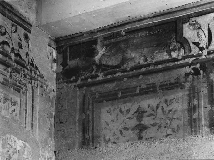 Peinture monumentale : chambre des Amours, détail d'une scène animée d'Amours ayant pour titre 'Seulement pour la chasse' (détail)