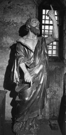 Statue : Saint Pierre, bois sculpté, peint, doré
