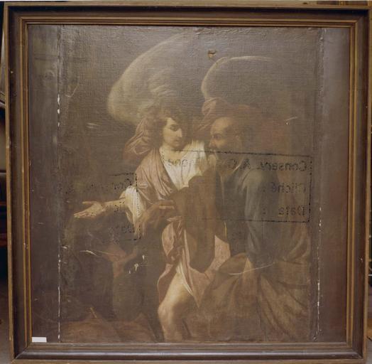 Tableau : La Libération de saint Pierre, huile sur toile, cadre en bois doré