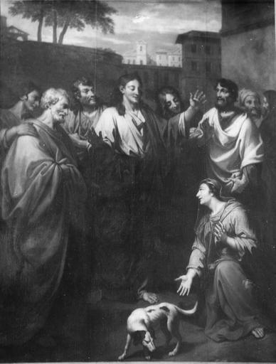 Tableau : Le Christ et la Cananéenne, huile sur toile