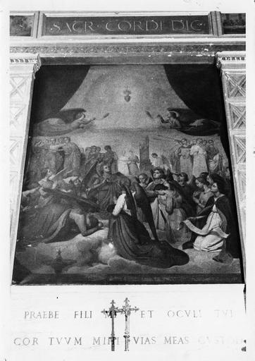 Tableau : L' Adoration du Sacré-Coeur, huile sur toile