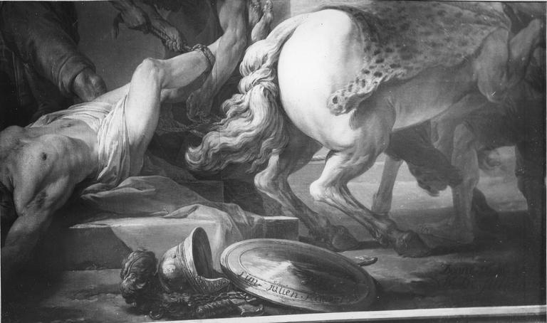 Tableau : Le Martyre de saint Hippolyte, détail de la signature sur le bouclier de saint Hippolyte, huile sur toile (détail)
